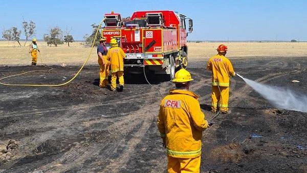 HELPING OUT: The Victorian CFA strike team fighting the Blackford fire in South Australia. Picture: CONTRIBURED.