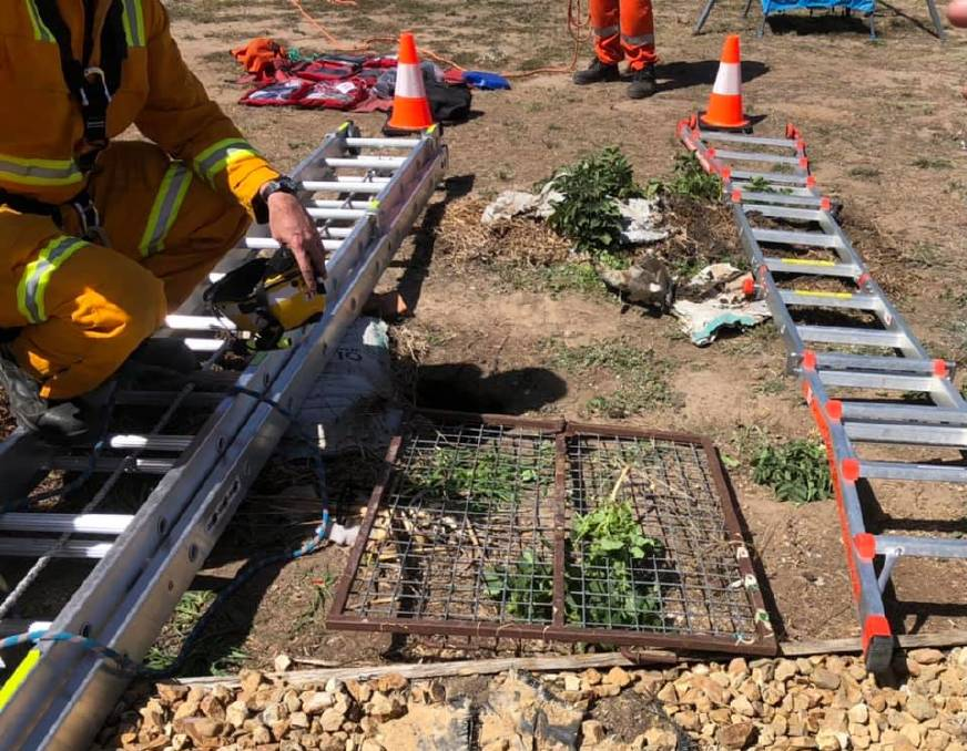 AT RISK: There is an estimated 2x2 metre hole under ground that was a risk of collapsing. Picture: SES STAWELL.