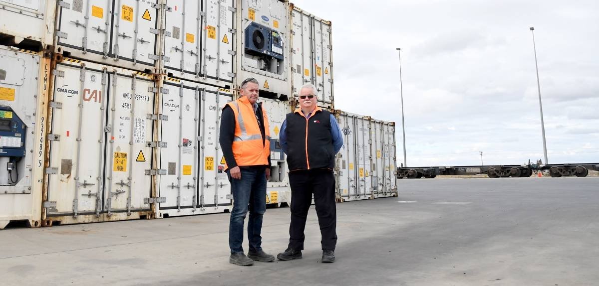 TRANSPORT: Wimmera Container Line operations manager Craig Scott, and general manager Tim Guidera. Picture: FILE