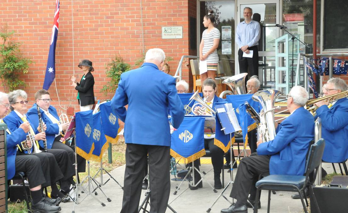 BAND: Natimuk brass band prepare to play the Australian anthem as the flag is raised. Picture: CONTRIBUTED