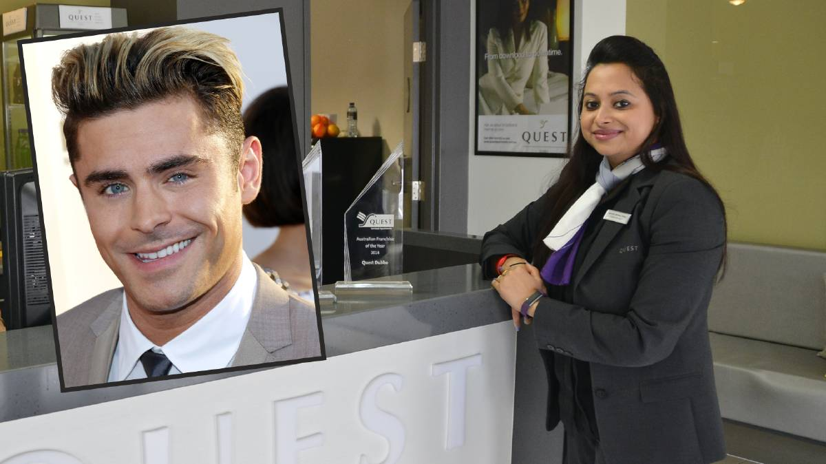 SPECIAL GUEST: Quest Hotel Dubbo franchise manager Amrita Verma. Insert: Zac Efron. Photo: BELINDA SOOLE.