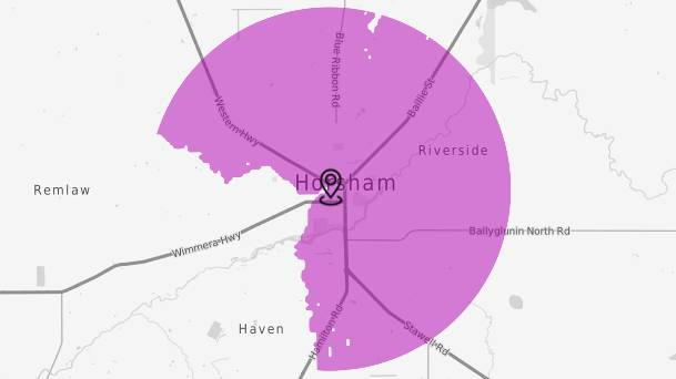 COVERAGE INCREASING: A map showing Telstra's 5G footprint in Horsham, the only Wimmera location currently with access to the technology.