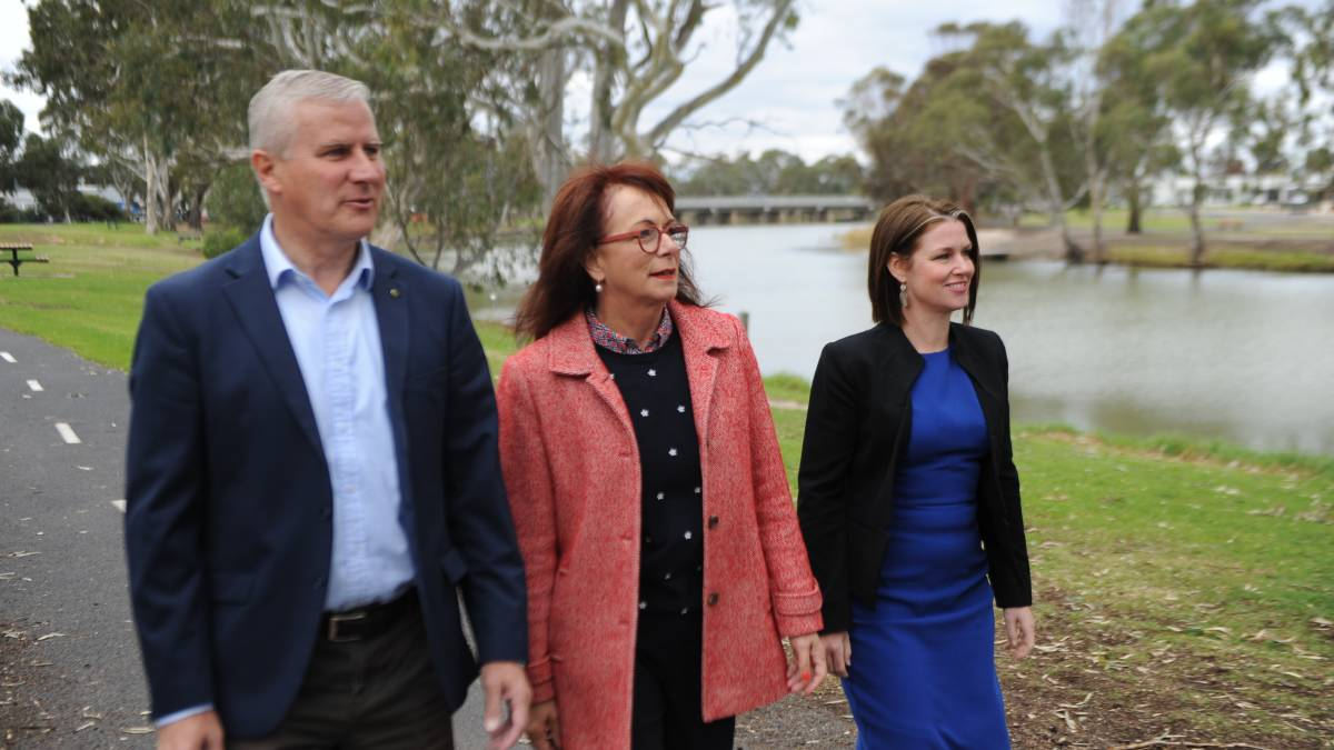 ANNOUNCEMENT: Deputy Prime Minister Miachel McCormack with Mallee Nationals candidate Anne Webster and Member for Lowan Emma Kealy on Wednesday. Picture: ALEXANDER DARLING