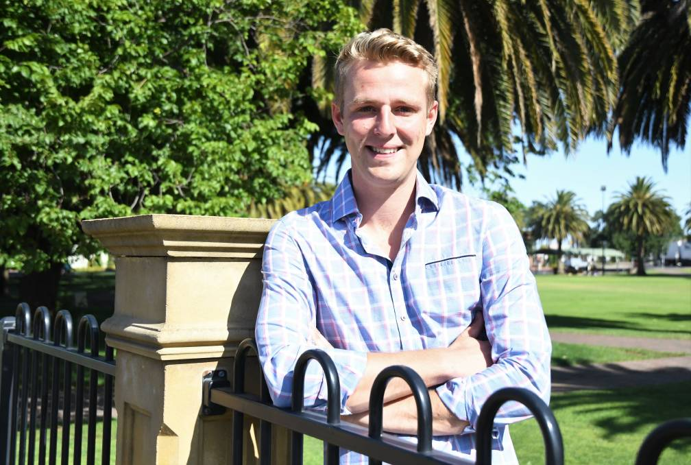 LEADER: Horsham Agricultural Society president Zack Currie has been named Horsham council's 2020 Young Citizen of the Year alongside Lauren Matheson. Picture : JADE BATE