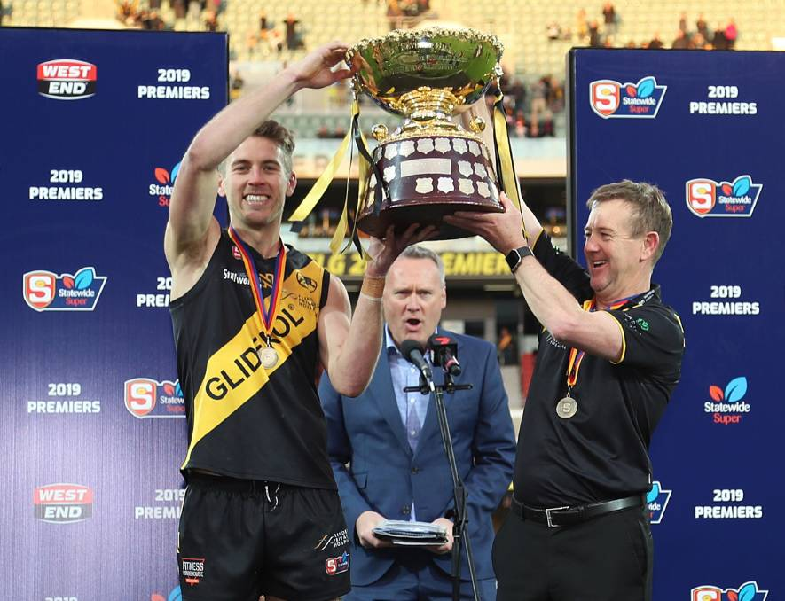CHAMPIONS: Horsham export Chris Curran celebrates winning the 2019 SANFL premiership with Glenelg. Curran has left Glenelg for the Renmark Rovers next season. Picture: SANFL/DEB CURTIS