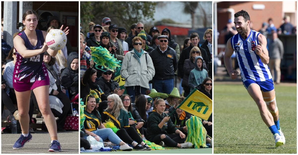 IN THE ACTION: Horsham's Georgie Carberry, the crowd at the 2019 WNA u17 grand final, and Harrow-Balmoral's Simon Close. Pictures: MAIL-TIMES PHOTOGRAPHERS