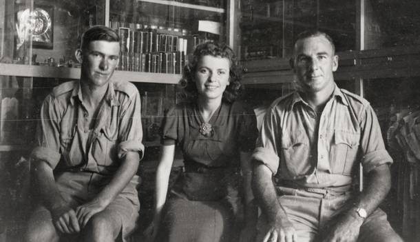 FROM THE ARCHIVES: Horsham soldier Private Eric Clifton Eldridge (left), with a shopgirl and Corporal Henry Bailey Spencer at Tel Aviv in 1940. Picture: HORSHAM HISTORICAL SOCIETY