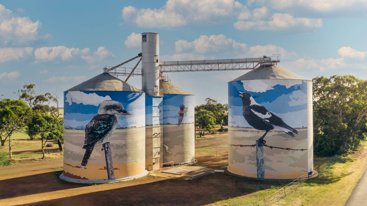 WHAT A SIGHT: The completed silo art at Goroke. Picture: CONTRIBUTED