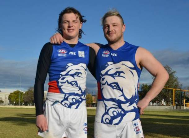 DOUBLE IMPACT: Josh and Jaydon after their Bulldogs debuts. Photo: MARK BODE/NAMOI VALLEY INDEPENDENT