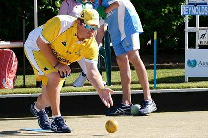 IN THE ZONE: Josh Barry bowling for Australia. Picture: CONTRIBUTED