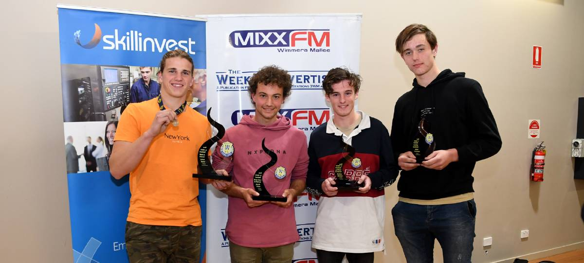 Wimmera Football League under 17 best and fairest winner Jakob Salmi, Stawell, runner-up Jacob Glare, Horsham, third place Bailey Nelson, Horsham, leading goalkicker Aiden Graveson, Stawell. Absent runner-up Angus Wheaton, Nhill.